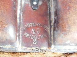 1940 büttikofer fribourg VINTAGE SAC MILITAIRE SUISSE SWISS ARMY BAG cuir LEDER