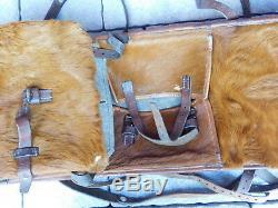 1947 g. Wermuth bern VINTAGE SAC MILITAIRE SUISSE SWISS ARMY BAG cuir LEDER army