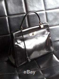 1963 Hermès Paris Sac À Main Kelly 32 En Box Noir Vintage