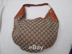 -AUTHENTIQUE grand sac à main GUCCI toile/cuir TBEG vintage bag