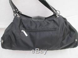 -AUTHENTIQUE grand sac à main THIERRY MUGLER toile/cuir TBEG vintage bag A4