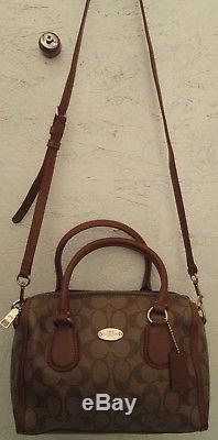 -AUTHENTIQUE sac à main COACH toile/cuir TBEG vintage bag