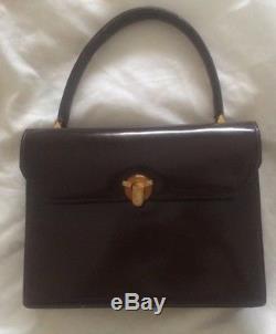 e8432191b0 -authentique Sac à Main Gucci Cuir Tbeg Vintage Bag 60's- Handtasche  Lackleder
