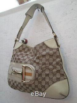 -AUTHENTIQUE sac à main GUCCI toile et cuir BEG vintage bag