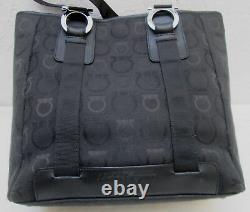 -AUTHENTIQUE sac à main noir SALVATORE FERRAGAMO toile/cuir TBEG vintage
