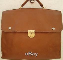 -AUTHENTIQUE sac type cartable A4 LONGCHAMP cuir (T)BEG vintage bag 60's