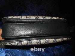 Ancien Sac Gucci Cuir Et Toile Enduite Monogrammes Bandoulière Épaule Vintage