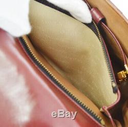 Authentique Delvaux le Brillant Main Sac Cuir Rouge Belgique Vintage Ghw NR13031