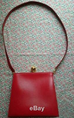 Authentique Hermes Vintage Bisou Verrou Sac à Main Cuir Rouge Utilisé de Japon F