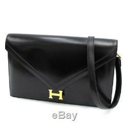 Authentique Hermes Vintage Lidi Sac Bandoulière Boîte Mollet Noir × or H Logo