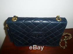 Authentique Sac Chanel Cuir Marine Matelassé Tbe Vintage French Bag Leather