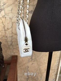 Authentique Sac Cuir Blanc Chanel Vintage