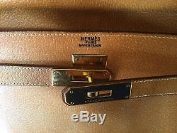 Authentique Sac Hermès Kelly en Cuir Box gold 32cm Bag Leather VINTAGE