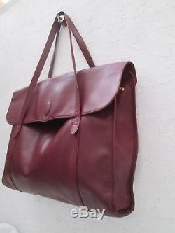 Authentique grand sac à main cartable MUST de CARTIER vintage en cuir bag /