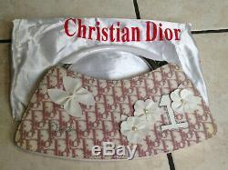 Authentique sac Dior Monogramme blanc/rose vintage cuir/tissu