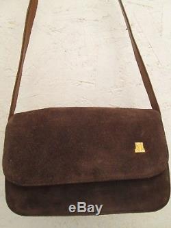 Authentique sac à main LANVIN vintage en daim et cuir bag
