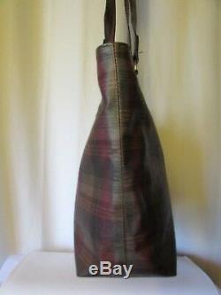 Authentique sac vintage mulberry toile enduite et cuir marron façon croco