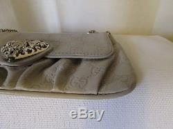 Authentique sac vintage pochette GUCCI cuir monogrammé beige