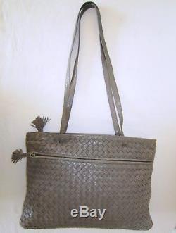 BOTTEGA VENETA authentique sac cuir tressé vintage satchel INTRECCIATO bag borsa