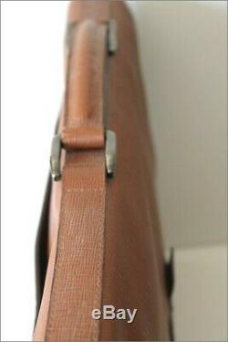 BURBERRY Cartable Vintage Cuir Marron Clair 3 Soufflets Rare CERTIFICAT TBE