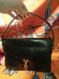 Beau Sac Hermès En Cuir Noir Vintage En Parfait État Authentique