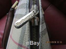 Burberry Sac Vintage Tres Ancien Modele Alma Toile Novachek + Cuir 31x27 Cms