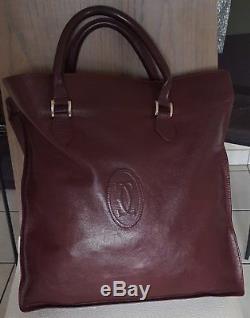CARTIER sac cabas fourre tout en cuir souple rouge bordeaux vintage