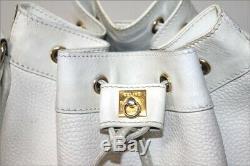 CELINE Sac Seau Vintage Cuir Blanc Doublé Cuir Bandoulière BE