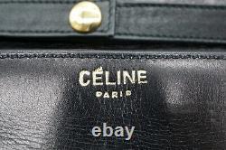 CELINE Vintage 2way Mini Sac Bandoulière Brazon Logo Cuir Noir 4047h