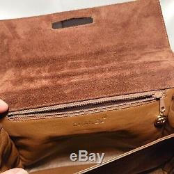 CHANEL Authentique sac à main en cuir daim marron vintage années 80-90