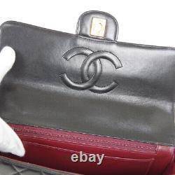 CHANEL Matelassé Cc 2 IN 1 Hand Bag Ensemble 2972634 Sac Cuir Noir Vintage 32712