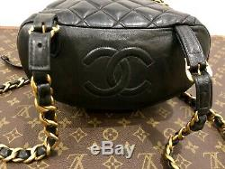 CHANEL Matelassé TIMELESS Sac à Dos Main Cuir Noir Vintage de France Authentique