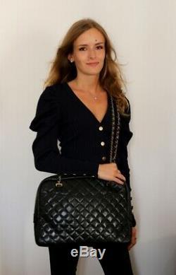 CHANEL sac à main CAMERA XXL cuir d'agneau noir made in France VINTAGE 1990