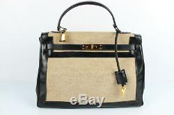 CHRETIEN Maroquinerie Vintage Sac Porté Main Cuir Box et Textile Très bon état