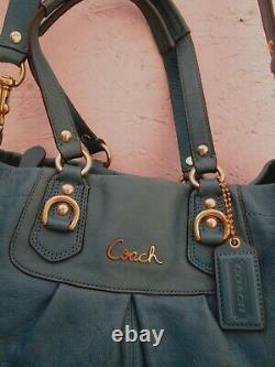 COACH grand sac à main vintage en cuir turquoise bag à saisir r22/7-20