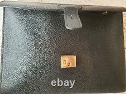 Cartable/serviette/porte documents en cuir grainé Maroquin du Cap vintage
