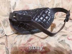 Chanel Banane Sac Ceinture Weist Pochette Sac Noir Cuir D'Agneau Vintage
