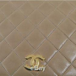 Chanel Chaîne Sac à Bandoulière Vintage Matelasse Cuir D'Agneau Beige Utilisé