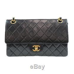 Chanel Double Frap Chaîne Sac Bandoulière Cuir Noir Vintage Authentique #P982 W