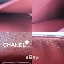 Chanel Double Frap Chaîne Sac à Bandoulière Noir Cuir Vintage Authentique #P138