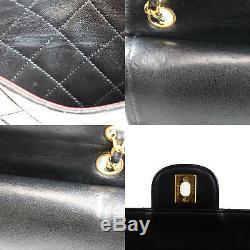 Chanel Double Frap Chaîne Sac à Bandoulière Noir Cuir Vintage Authentique P982