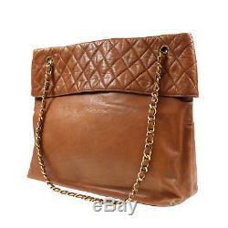 Chanel Matelasse Chaîne Épaule Sac Brun Cuir D'Agneau Vintage Authentiques #