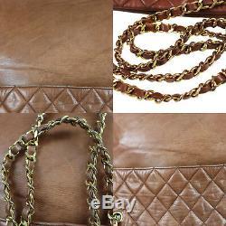 Chanel Matelasse Chaîne Épaule Sac Brun Cuir D'Agneau Vintage Authentiques #Z325