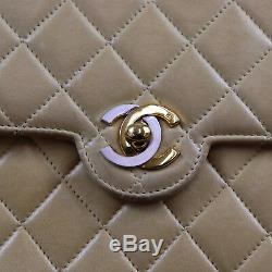 Chanel Matelasse Chaîne Sac à Bandoulière Beige France Cuir Vintage