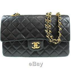 Chanel Matelasse Double Rabat Chaîne Épaule Sac Cuir Noir Vintage Authentique #