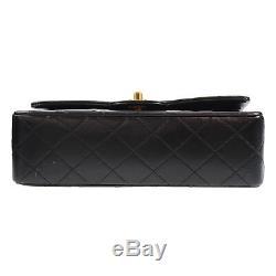 Chanel Matelasse Double Rabat Sac à Bandoulière Cuir Noir Vintage Authentique #