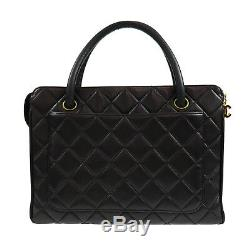 Chanel Matelasse Main Sac Noir Cuir D'Agneau Italie Vintage Authentique #Z59 W