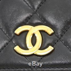 Chanel Matelassé Matelasse Chaîne Sac Bandoulière Cuir Noir Vintage Auth #Q84 W