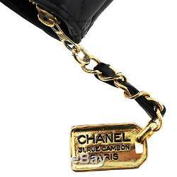 Chanel Matelassé Matelasse Chaîne Sac à Bandoulière Cuir Noir Vintage