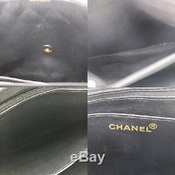 Chanel Matelassé Matelasse Grand Sac Bandoulière Cuir Noir Vintage Authentique